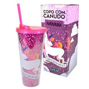 Copo c/ canudo unicornio purpurina 650 ml