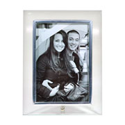 Porta retrato prata de vidro vertical 10x15 cm
