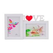 Porta Retrato branco love 10x15 para 02 fotos