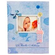 Álbum laço bebê azul para 100 fotos 10x15 cm