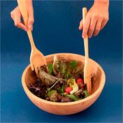 Jogo de pegador de saladas bambu mãozinha 30 cm 02 peças