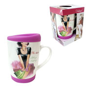 Caneca Ladies Color de porcelana com tampa silicone