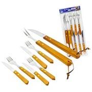 Kit para churrasco com cabo de madeira 08 pçs