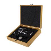 Kit para vinho com caixa de madeira 6 peças
