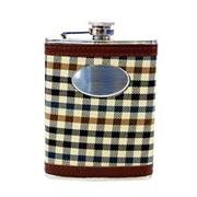 Porta whisky em inox com couro 240 ml