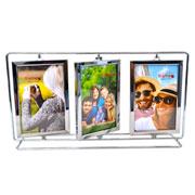Porta retrato metal giratorio triplo para 06 foto 10x15 cm
