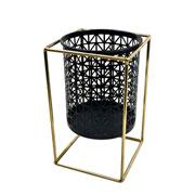 Castiçal de metal preto/ dourado com suporte redondo 22 cm