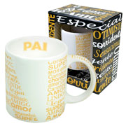 Caneca de cerâmica Pai branca/dourada 340 ml
