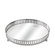 Bandeja metal prata com espelho 20 cm