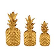 Jogo de abacaxi em cerâmica dourado 03 peças