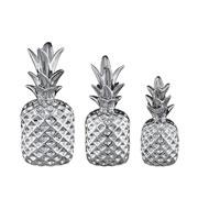 Jogo de abacaxi em cerâmica prata 03 peças