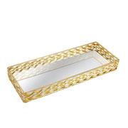 Bandeja metal retangular dourado 34,5x13 cm