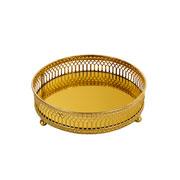 Bandeja redonda dourada com espelho 15 cm