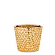 Cachepot em cerâmica dourado 06 cm