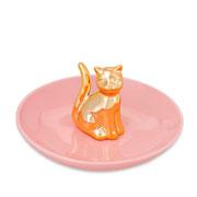 Porta bijoux Gato dourado/rosa em cerâmica