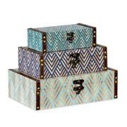 Jogo de caixa azul e dourado 3 peças