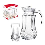 Conjunto jarra de vidro Parma 1.5 litros com 06 copos 220 ml