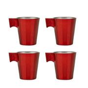 Jogo de xícaras expresso napoli vermelha 80 ml 04 peças