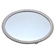 Bandeja decorativa prata strass com pé 25 cm