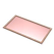 Bandeja decorativa baixa cobre com strass 36x20 cm