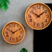 Relógio parede plástico wood bege 25 cm