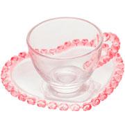 Xícara para café com pires de cristal coração 80 ml