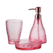 Jogo de banheiro de vidro Elegant Rosa 03 peças