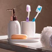 Jogo de banheiro de ceramica londres branco e rosê 03 peças