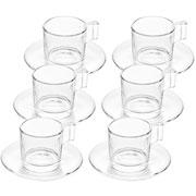 Jogo de xícaras de vidro para café com pires 90 ml 12 peças
