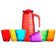 Conjunto jarra com copos Colméia colors 07 peças