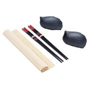 Jogo esteira para sushi de bambú 05 peças