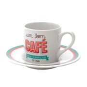 Jogo de xicara para café bom dia 90 ml 6 peças