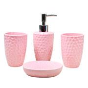 Jogo para banheiro de cerâmica Rosa 04 peças