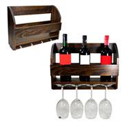 Porta vinho e taças de madeira
