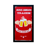 Porta tampas de cerveja quadro Bons amigos 52 cm