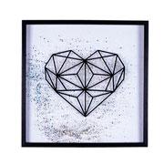 Quadro de vidro coração com glitter 42x42 cm