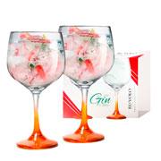 Jogo de taças para gin gambo laranja Ideal Bombay Tanqueray Beefeater 705 ml 02 peças