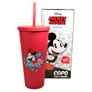 Copo de plastico com canudo minnie mouse 650 ml