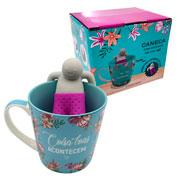 Caneca com infusor de chá coisas boas 350 ml