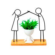 Vaso bob com planta artificial e suporte I