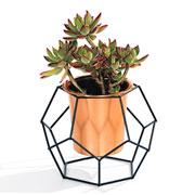Vaso Geo forms cobre octagonal com suporte