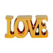 Enfeite de cerâmica letter love dourado