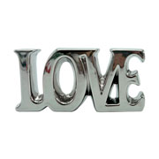 Enfeite de cerâmica letter love prata