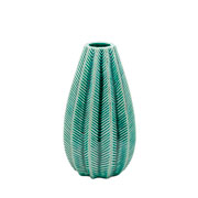 vaso ceramica long fat green 15,5 cm