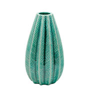 vaso ceramica long fat green 19 cm