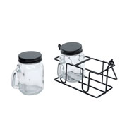 Conjunto porta condimento de vidro preto 03 peças