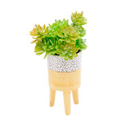 Vaso de cerâmica com pé amarelo 12 cm