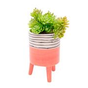 Vaso de cerâmica com pé salmão 14 cm