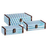 Jogo de caixa branco e azul 03 pcs