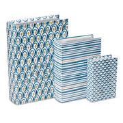 Jogo de caixa livro branco e azul 3 peças